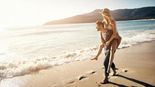 Strand Sonne Meer Paar Mann Frau